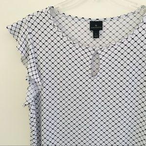 Worthington | Ruffle Sleeve Print Blouse
